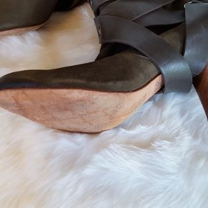 Mea Shadow Shoes - Women's Brown Taupe Suede Cassandra Wrapped Boots